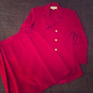 Burgandy long blazer 6 and skirt 12 set